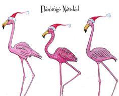 Flamingo Navidad holiday greeting card by on Etsy Xmas Greeting Cards, Xmas Greetings, Xmas Cards, Coastal Christmas, Christmas Love, Christmas Crafts, Beach Christmas, Flamingo Art, Pink Flamingos