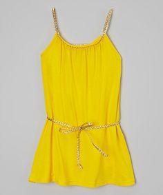 Look at this #zulilyfind! Yellow & Gold Boho Belted Dress - Toddler & Girls by Kid Swag #zulilyfinds