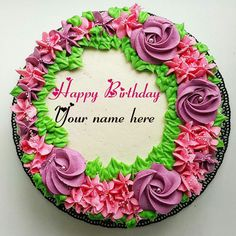 Flower Cream Birthday Cake With Name On It Happy Writing Cakes