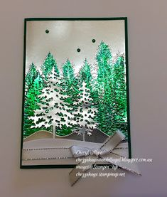 Homemade Christmas Cards, Stampin Up Christmas, Christmas Greeting Cards, Christmas Ideas, Evergreen Forest, Christmas Catalogs, Colouring Techniques, Christmas Scrapbook, Fall Cards