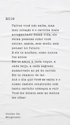 Texto Pro Crush, The Secret, Texts, Writing, Ih, Love Text, Romantic Texts, Inspiration Quotes, Sad Love