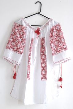 Romanian traditional blouse with red by constantincornea on Etsy, $95.00