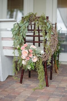 Seeded Eucalyptus, Wood and Garden Rose Wreath