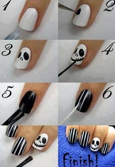 Step by step for these adorable skeleton nails!