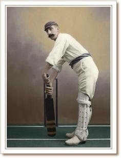 Victorian cricketer with handlebar moustache Cricket Books, Cricket Poster, Beard No Mustache, Moustache, Epic Beard, Golden Age, Beards, Steampunk, Cufflinks