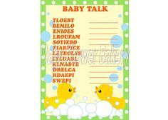 Rubber Duck Baby Shower Game, Baby Word Scramble, Rubber Duck Theme Baby Shower, Instant Download Baby Shower, Printable Game