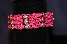 Unique Rubber Band Bracelet with Beaded Work Magenta by JJJCrafts, $12.50