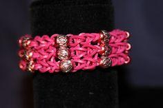 Unique Rubber Band Bracelet with Beaded Work Magenta by JJJCrafts, $12.50