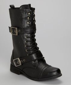 Take a look at this Black Double Buckle Boot on zulily today!