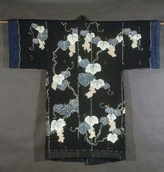 Yogi (Bedding in Kimono form), 19th century. Padded indigo-blue cotton with grapevine design, 60 x 61 in. (152.4 x 154.9 cm). Brooklyn Museum, Designated Purchase Fund, 84.208 (Photo: Brooklyn Museum, 84.208.jpg)