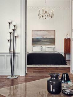 continuarte: Home of the interior designer Malin Jensen, Stockholm. Stilnovo floor lamp ca.1950s