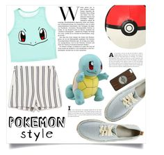 """""""Pokemon Style : Crop Top"""" by onyulover19 ❤ liked on Polyvore featuring Zara, ASOS, croptop, stripes, platformshoes, Pokemon and pokemonstyle"""