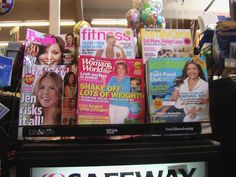 "Every one of these magazines sitting on this shelf by the supermarket checkout line had a big fat headline about weight loss or someone's body. The Life and Style magazine headline is covered up (see next pic) - it says ""Sexy Beach Bods"" below the pi http://www.threeweekdiet.net ~ Struggling to lose weight? Lose 12-23 pounds in only 21 days with the 3 Week Diet!"