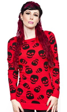If you've got a Lust for Skulls, Sourpuss has a sweater for you! Get cozy in this red knit sweater featuring a boatneck & all over skull pattern.