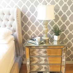 Check out how @monica.marie's Omni Drawer Chest reflects the cool graphic patterns in her bedroom.