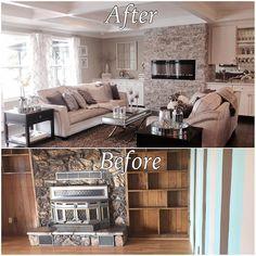 underwoodLiving room before & after. #beforeandafter #remodel #remodeling #homeimprovement #boxceiling #livingroommakeover #furthrow #velvet #velvetfurniture #grayandwhite #pullhandles #whitecabinets #home #decor #livingspace #livingroom #homedecor #homedesign #countryliving #perfection #interior #interiordesign #getinspired #decoratingideas #beautifulliving #bar #builtinbar #livingroombar #quartz #quartzcounters