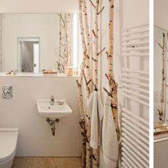 Picture result for birch trunk trunk - Raumteiler Modern Apartment Decor, Modern Bathroom Decor, Rustic Bathrooms, Bathroom Interior, Bathroom Ideas, Bamboo Bathroom, Diy Room Divider, Interior Concept, Modern Fireplace