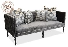 Browse a wide selection Braxton charcoal velvet tufted sofa with charcoal damask accent pillows for sale on Haute House Home. Living Room Sofa, Home Living Room, Grey Tufted Sofa, Sectional Sofa, Sofas, Velvet Sofa, Pillow Sale, Settee, Furniture Inspiration