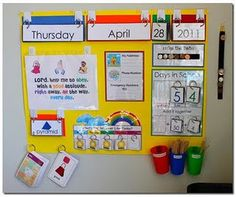 calendar wall - should be near main teaching area so it is interactive and useable
