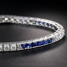 Art Deco Diamond and Sapphire Bracelet - 40-1-4708 - Lang Antiques