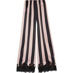 Rosamosario Amori Imprigionati lace-trimmed striped silk-satin pajama... ($675) ❤ liked on Polyvore featuring intimates, sleepwear, pajamas, black, striped pjs, lace trim camisole, striped cami, striped pajamas and silk satin pajamas