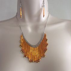 Stunning Seed Bead Dangle Necklace and Earring set by WirednStrung