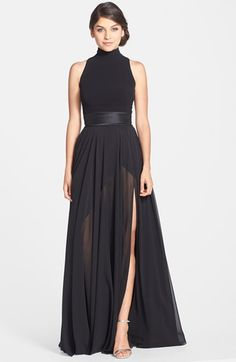 Free shipping and returns on Theia Mixed Media Turtleneck Gown at Nordstrom.com. A chic turtleneck crowns this alluring gown with a touch of edgy sophistication. The sleeveless crepe bodice is trimmed with shiny satin at the waist and cutout back while gorgeous chiffon falls into a sweeping, dramatic skirt.