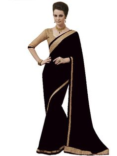 Georgette Black Coloured Classy Saree Wth Blouse Sarees on Shimply.com