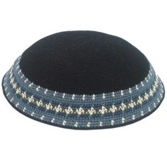 Hand-made, 100% cotton Diameter: 7 / 18 cm This is the classic hand-made Israeli knitted kippah in a stylishly black design, with gray decorating the rim. Light, comfortable and stylish, nothing makes