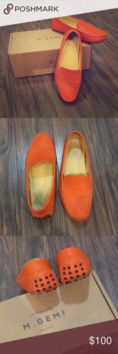 Superb genuine Italian leather M.Gemi loafers Genuine Italian leather in burnt orange. Leather sole. Leather lining. Traditional driver constructions. In original box. Reasonable wear M. Gemi Shoes Flats & Loafers