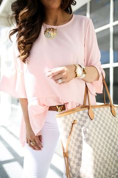 Spring Style // White jeans with lovely ruffle blouse.