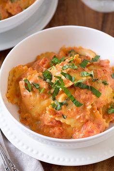 Ravioli with Creamy Sun-dried Tomato and Basil Sauce @FoodBlogs