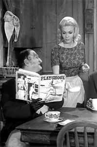 """Grandpa Munster read """"PLAYGHOUL"""" magazine… at the breakfast table."""