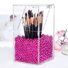 Langforth Makeup Brush Holder Dustproof Box Premium Quality 5mm Thick Acrylic Organizer Oragniser Cosmetic Storage Display Case Lid With Rosy Pearl Large 59.97 Ounce by Langforth -- Awesome products selected by Anna Churchill