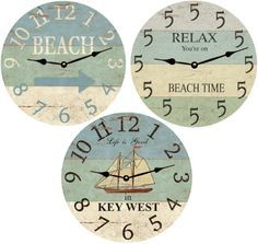 Wooden Beach Clocks From Time Flies Clocks Go on beach time with a rustic beach wall clock! Beach Cottage Style, Beach Cottage Decor, Coastal Style, Coastal Decor, Coastal Living, Wall Clock Wooden, Diy Wall Clocks, Diy Clock, Wood Clocks