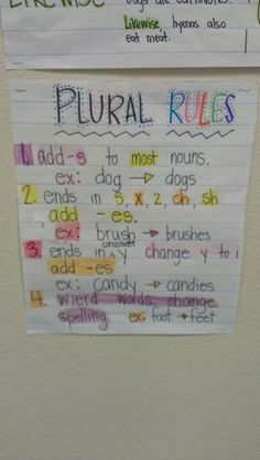Plural Rules - Going in the notebook! Teaching Nouns, Teaching Language Arts, Classroom Language, Teaching Writing, Student Teaching, Teaching Ideas, Grammar Chart, Grammar And Punctuation, Spelling And Grammar