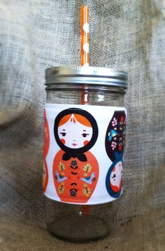 Mason Jar Tumbler 24oz Matryoshka Doll by AllThePurdyThings, $16.00