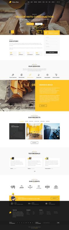 Buy Yellow Hats - Construction Business PSD Template by on ThemeForest. About Yellow Hats: Yellow Hats is a clean and unique multi-purpose PSD template for all kinds of Construction and Han. Layout Design, Layout Web, Web Ui Design, Page Design, Web Design Templates, Psd Templates, Design Trends, Sites Layout, Layout Site