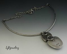 Silver Necklace, Silver Pendant, Denditric Pendant, Sterling Silver, Metalsmith Jewelry, Handmade Necklace, Choker Style, Statement Necklace  A great