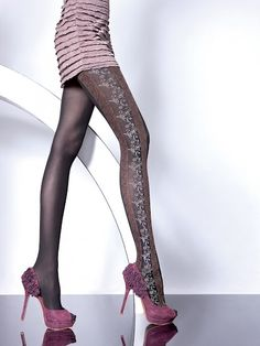 Fiore Hosiery Brand: Off grey styled Pantyhose with pattern along the outer part of the leg.