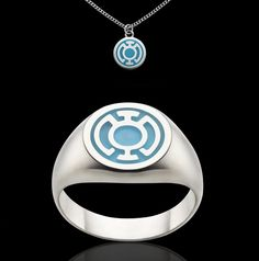 Blue Lantern Corps Sterling Silver Ring and Charm, hope burns bright.  Ring RRP $100 AUD  Charm RRP $30 AUD