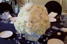 Cube Centerpiece with White/Ivory Hydrangea, Roses, and Fuji Mums accented with Gems and a Bling Vase