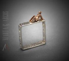Truly handmade  SILVER 925 ring  pendant square figurative men