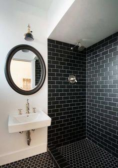 modèle carrelage salle de bain noir à joints blancs en rectangle ou hexagone