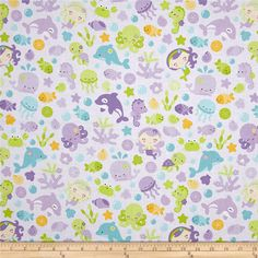 Riley Blake Under The Sea Main Purple from @fabricdotcom  Designed by Doodlebug Design for Riley Blake, this cotton print fabric features happy mermaids playing with their whale and turtle friends. Perfect for quilting, apparel and home decor accents. Colors include black, white, blue, sky blue, golden orange, pale yellow, nude, pink and shades of purple and green.