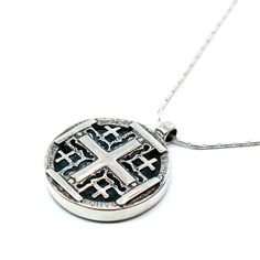 Unique Roman Glass Jerusalem Cross Sterling Silver Cross Roman Glass Cross Holy Land Roman Glass Christian Necklace FREE Worldwide SHIPMENT by MichalDesigns on Etsy https://www.etsy.com/listing/113370124/unique-roman-glass-jerusalem-cross