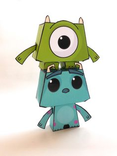 """Sullivan and Mike paper toys. The two main characters of Pixar """"Monsters Inc"""" available as over cute paper toys. The models are ..."""