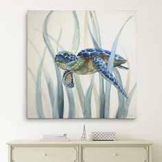 'Turtle in Seagrass II' Oil Painting Print on Wrapped Canvas