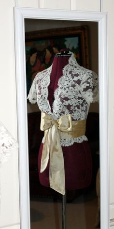 Custom Alencon Lace Wedding Jacket - Short or Capped Sleeves. $325.00, via Etsy.