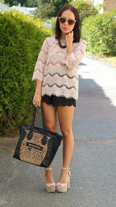 Lace top + scalloped shorts.